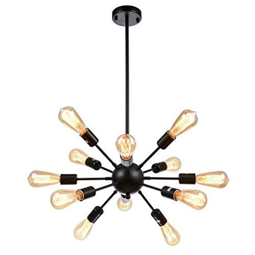 Splink Lustre Suspension Salon Vintage Style Rétro Lampe Industrielle Plafonnier Forme de 12 Douilles Bras Multiple en Métal - Noir