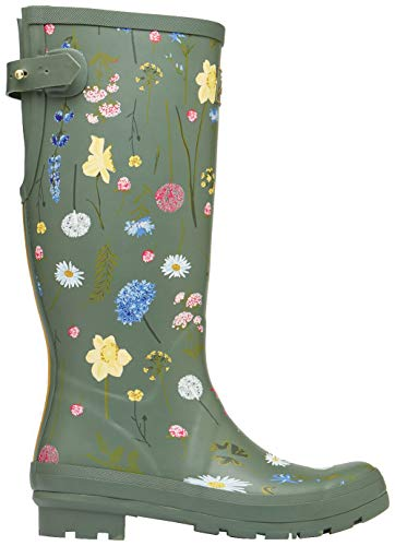 Joules Damen Welly Print Gummistiefel, Grün (Green Floral Grnfloral), 37 EU