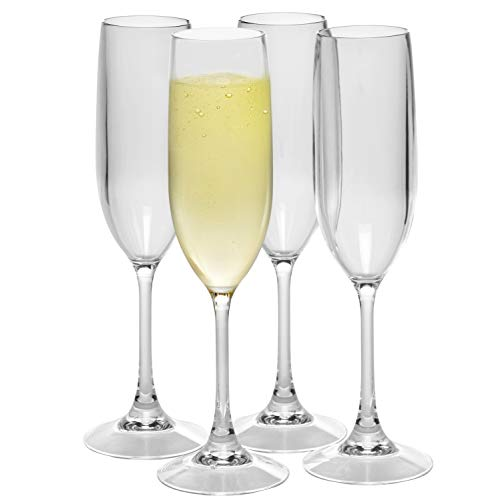 Unbreakable Stemmed Champagne Glasses, 12oz - 100% Tritan - Shatterproof, Reusable, Dishwasher Safe Drink Glassware (Set of 4)- Indoor Outdoor Drinkware - Great Holiday and Wedding Gift