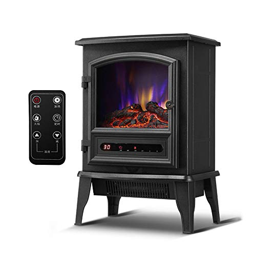 ZXWCYJ Electric Stove Heater, Freestanding Electric Fireplace with Realistic Dancing Flame Effect, Touch Screen, Remote Control, with Timer, 2000W