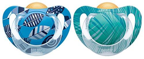 NUK Genius Color Latex-Schnuller, Zahnschonend, Kiefergerechte Form, Größe 1 (0-6 Monate), BPA frei, blau