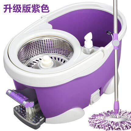 Cxjff Fregona Exprimidora Rotatoria Mop Bucket Rotation Mop Bucket Mop Fregona automática (Color : Purple Updated)