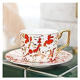 Tazza Di Caffè,Tazzine Da Caffe Marocchina Tazza e piattino di Ceramica Set 250ml Cappuccino Afternoon Tea Cup (Color : Nongmo Red)