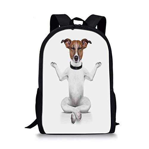 AOOEDM Backpack Dog Lover Decor Elegante Mochila Escolar, Yoga Dog Sentado Relajado con los Ojos Cerrados Meditación Estilo de Vida Fitness Ejercicio Cómic para niños, 11 'L x 5' W x 17 'H