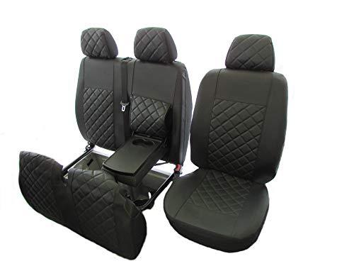Texmar Designet para Mercedes Sprinter, Crafter 2006-2018 LHD All Black Eco Leather Fundas de asiento 2+1 (1 individual 1 doble)