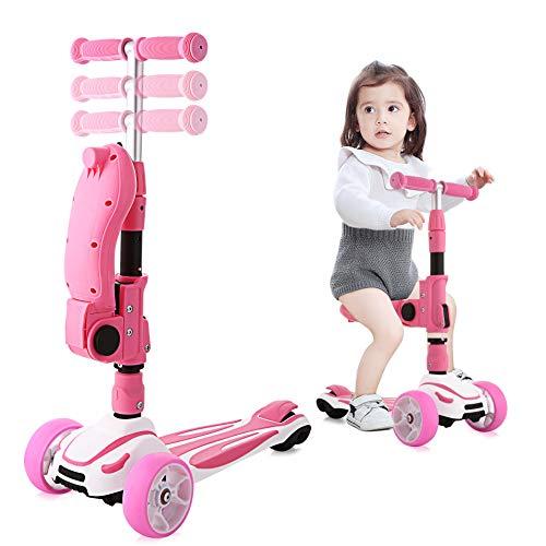 Hikole Patinete infantil con asiento plegable 2 en 1 con pedales de goma suaves y grandes ruedas iluminadas para niños y niñas más de 3 años