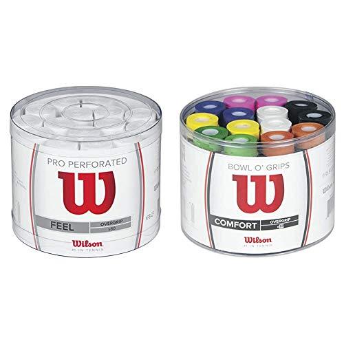 Wilson Pro Overgrip Perforated Empuñadura, 60 Unidades, Unisex, Blanco + Bowl Overgrip, Unisex, Multicolor, Talla Única
