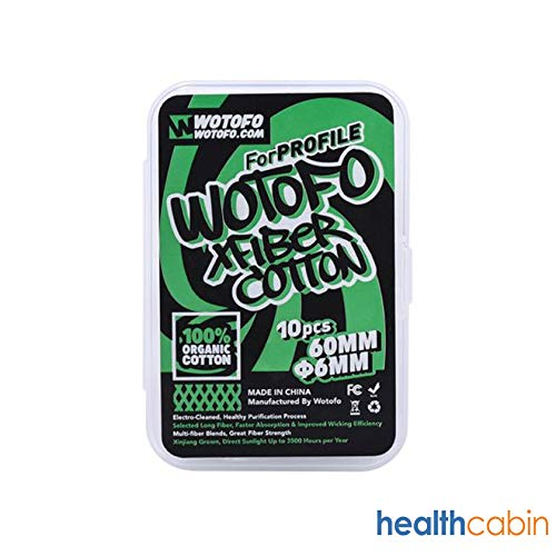 ETbotu 10 Stück Wotofo Xfiber Cotton 6mm (für Profile RDA & Profile Unity RTA)