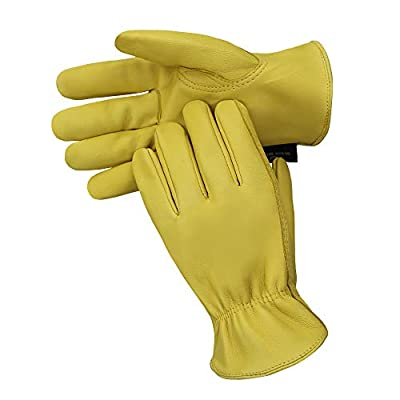 OLSON DEEPAK Sheepskin Gloves Leather gloves Handing workshop Gloves Driving/Riding/Gardening/Farm - Extremely Soft and Sweat-absorbent (Large, Full-Leather)