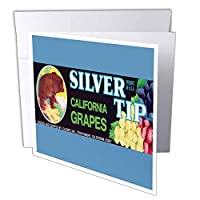 BLNヴィンテージラベルと広告アート – シルバーTip California Grapes with Bear in the mountains and Grapes – グリーティングカード Individual Greeting Card