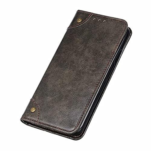 Funda para teléfono Coque para ASUS ROG Phone 5,Funda de Cuero con diseño de Lychee,Funda para teléfono con función de Soporte para ASUS ROG Phone 5-café