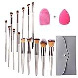 Miserwe 17Pcs MakeupBrushesSet Professional Cosmetic Brushes with Makeup Sponge Brush Cleaner and Travel
