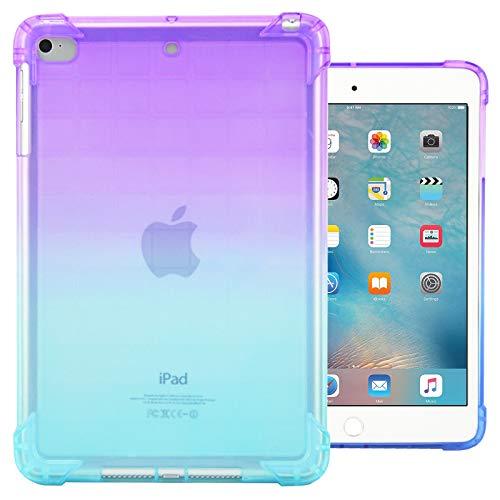 Dteck iPad Mini 1/2/3/4 Case - Ultra Slim Lightweight [Corner Protection/Scratch Resistant] Soft TPU Gel Silicone Back Protective Cover for Apple iPad Mini/Mini 2/ Mini 3/ Mini 4, Purple&Mint