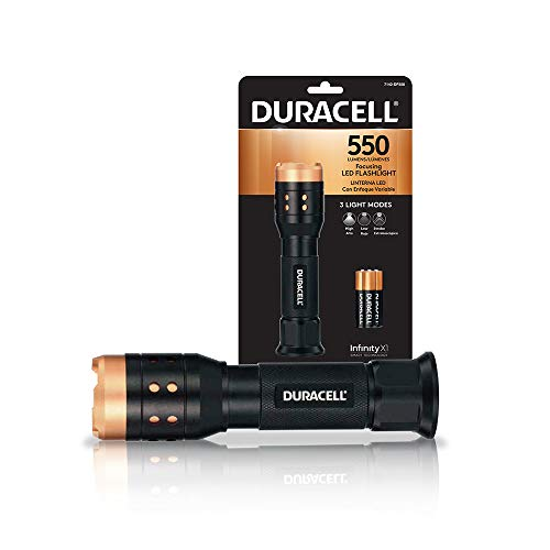 Duracell 550 Lumen Aluminum Focusing Flashlight for Everyday Use - Ultra-Light and Easy to Carry Design with 3 Modes and 3-AAA Batteries Included. Great for In-Door & Out-Door Use