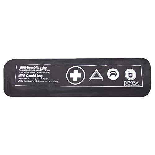 PETEX 43999704 Kombitasche p l u s mit Klettband best. aus EURO-Warndreieck, Verbandstofffüllung und Sicherheitsweste, schwarz
