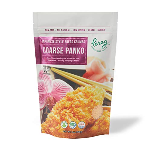 Pereg Coarse Japanese Panko Bread Crumbs (9 Oz) – Breadcrumbs with Coarse Crispy Texture - for Crunchy Coating & Stuffing - Schnitzel, Vegetables, Seafood, Chicken, Meatballs