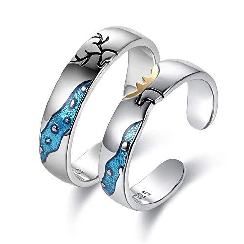 IWINO Een hert laat je koppel een paar S925 sterling zilveren ringen openen Stoïcijns koppel verjaardagscadeau om vriendin te sturen