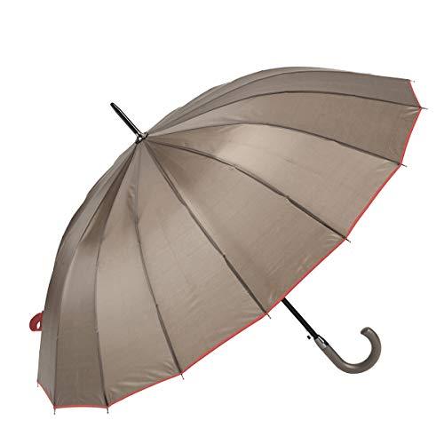 GOTTA Paraguas Largo y Grande de Hombre y Mujer, 16 Varillas. Antiviento, automático y con puño Curvo de plástico. Tejido Liso - Gris, 19
