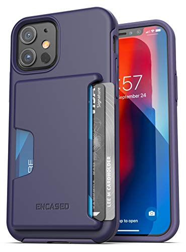 Encased Phantom Wallet Case Compatible with iPhone 12 Protective Cover with Card Holder Slot (3 Credit Cards Capacity) Purple