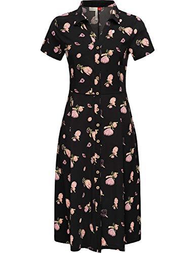 Ragwear Damen Kleid Dress Jerseykleid Shirtkleid Blusenkleid mit Alloverprint Lovly Schwarz Gr. M