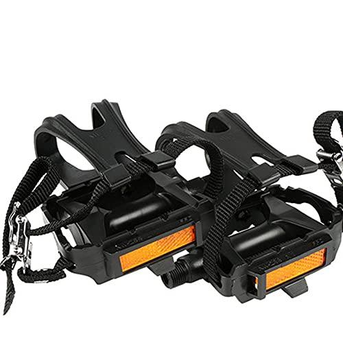 Jaula para Pedales de Tope de Bicicleta de Montaña, Adaptadores de Pedal de Bicicleta de Spinning Antideslizantes Ligeros Compatibles con Pedales de Correa de Dedo con Zapatillas