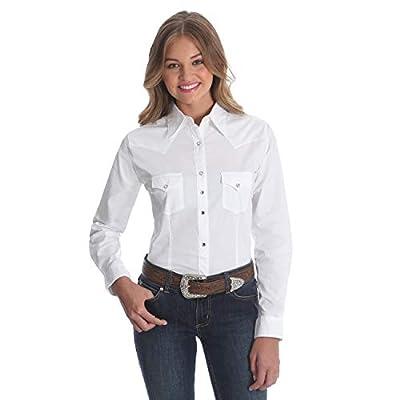Wrangler Women's Western Yoke Two Snap Flap Pocket Shirt, White, Large