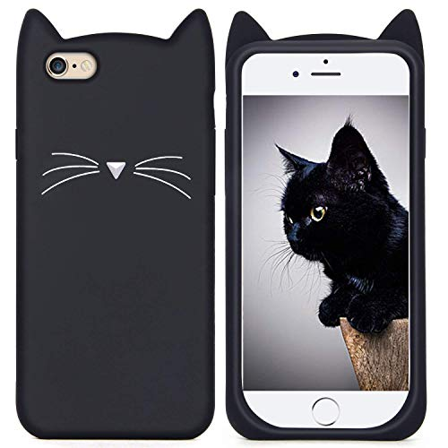 Joyleop Case for iPhone 7 8,Cartoon Soft Silicone Cute 3D Fun Cool Cover,Kawaii Unique Kids Girls Lady Cases,Lovely Animal Character Rubber Skin Shockproof Protector for iPhone78 Black Cat