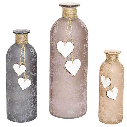 SIDCO Blumenvase 3 x Vase Flasche Herz Flaschenvase Glas Set Herzchen rosa grau Deko