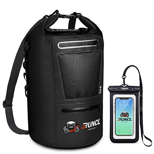 RUNCL Waterproof Dry Bag ANCOHUMA, Dry Compression Sack, Dry Backpack with Waterproof Phone Case - Reinforced Construction, MOLLE System - Kayaking Camping Fishing RV Surfing Rafting (Black, 20L)