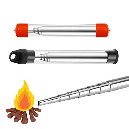2 STK Blasrohr Feuer Edelstahl Teleskopbalg Schlag Tragbarer Feuerbalg für BBQ Camping Wandern Grill Überleben im Freien Werkzeuge (Schwarz + Rot)