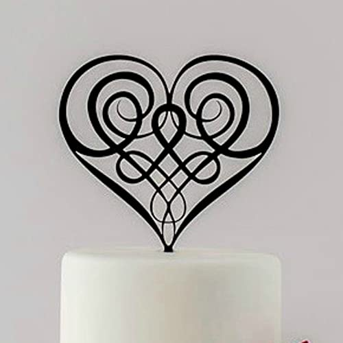 Tamengi Irish and Scottish Celtic Knot Heart Wedding Cake Topper, Made in The USA
