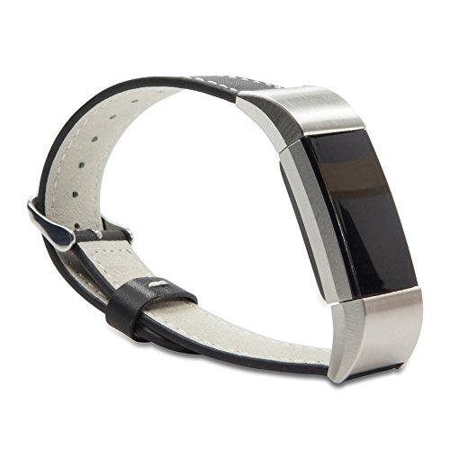 Fitbit Charge 2 riem, BoxWave® [LeatherLux Horlogeband] Echt lederen kalfslederen riem met pin-gesp voor Fitbit Charge 2 - Nero zwart
