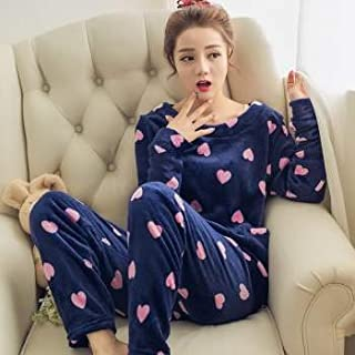 MUKHAKSH (Pack of 1 Set = 2 Pieces Women/Ladies/Girl Latest Fleece Winter Navy Blue Soft Night Suit for Casual wear/Honey Moon/Lounge wear/Sleepwear, Design May Vary