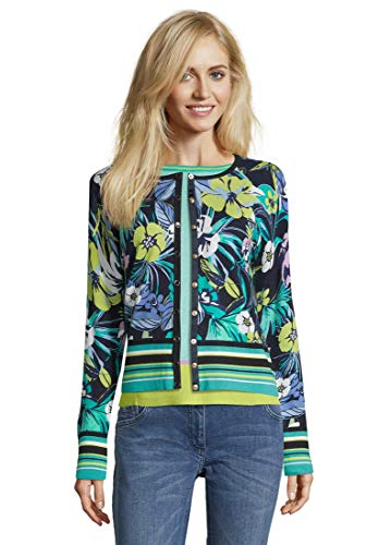 Betty Barclay Cleo Maglione Cardigan, Multicolore (Dark Blue/Green 8857), 54 Donna