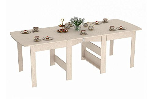 Rodnik Klapptisch- Klappbarer Tisch bis 240 cm - Esstisch ausklappbar- Eiche Weiß - Holzoptik -Küchentisch - Doppelklappentisch CK-2