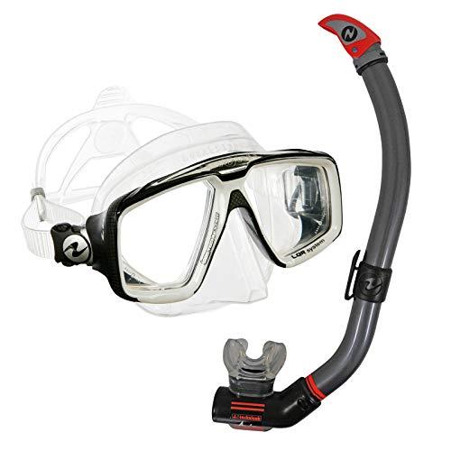 Abenteuertauchen Aqualung Schnorchelset Comfort - Maske Look HD mit Schnorchel Air Ventil, Farbe:weiß