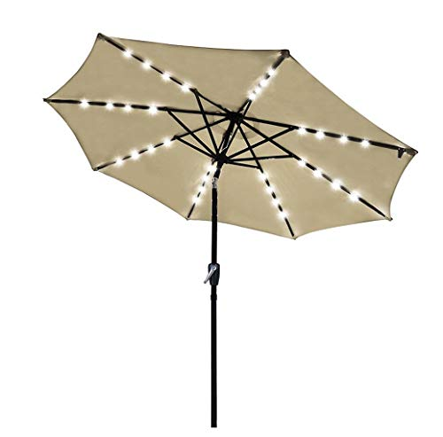 9FT Outdoor Patio Umbrella With Solar Lights and Tilt Function, Solar Umbrella for Backyard and Patio with Tilt Adjustment (Khaki)