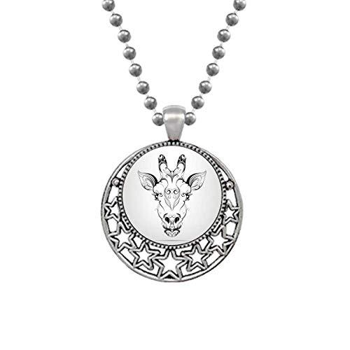 CAOHD Collar con colgante de antílope tibetano con diseño de estrellas de luna retro
