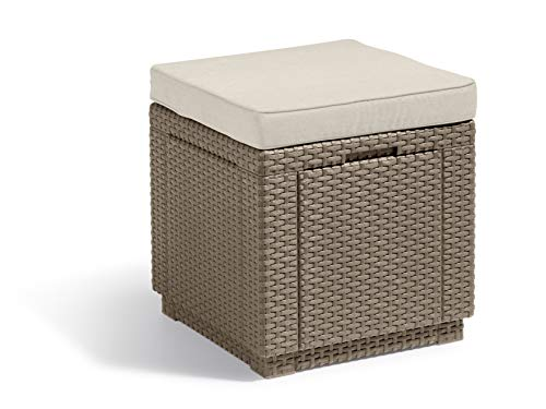 Allibert Cube w Kruk, cappuccino/zand (poly cotton cushion)