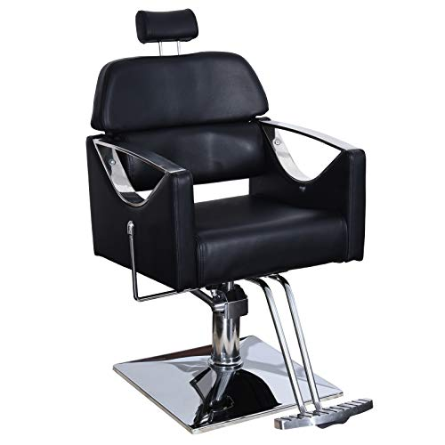 BarberPub Classic Recliner Barber Chair Heavy Duty Hair Spa Salon Styling Beauty Equipment 3126
