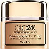 GLO24K crema para los ojos con oro de 24 k, formula antienvejecimiento con vitaminas, ‡cido hialur—nico, aceite de rosa mosqueta