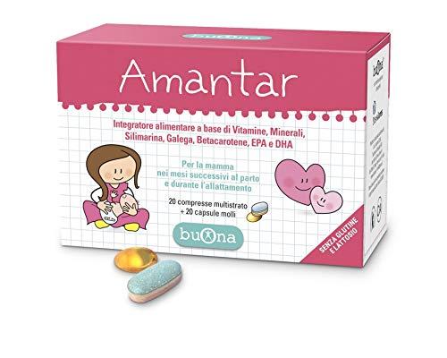 Amantar, Integratore alimentare per la mamma nei mesi successivi al parto e durante l'allattamento, a base di Vitamine, Minerali, Silimarina, Galega, Betacarotene, EPA e DHA - Buona