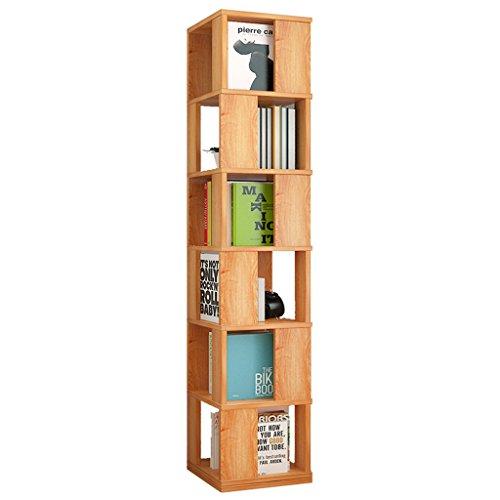 Étagère à 6 Niveaux Bibliothèque en Bois Autonome Étagère pivotante à 360 °