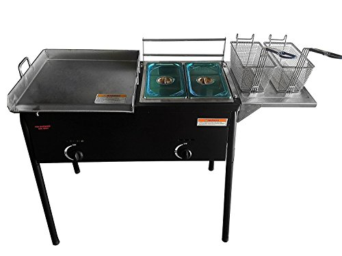 """Bioexcel Taco Cart with 18"""" X 16"""" Stainless Steel Griddle - Portable Outdoor Heavy Duty Two Tank Double Deep Fryer, Propane Gas Dual Burner with 2 Deep Trays & Stove - All 3 in 1"""