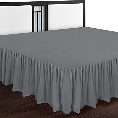 Utopia Bedding Bed Ruffle - Dust Ruffle - Easy Fit with 16 Inch Tailored Drop - Hotel Quality, Shrinkage and Fade Resistant (Full, Grey)