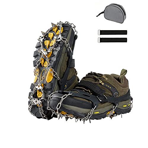 Hmseng Crampones para zapatos con 19 dientes, para botas de montaña, clavos de acero inoxidable y silicona resistente, cadenas de nieve para escalada en gran altura, al aire libre e invierno