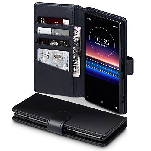 TERRAPIN, Kompatibel mit Sony Xperia 1 Hülle, [ECHT Leder] Brieftasche Hülle Tasche mit Standfunktion Kartenfächer & Bargeld - Schwarz EINWEG