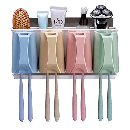 Soporte para cepillo de dientes, soporte de pared, organizador multifuncional que ahorra espacio con 4/3/2 tazas, sin necesidad de taladrar (tamaño: L)
