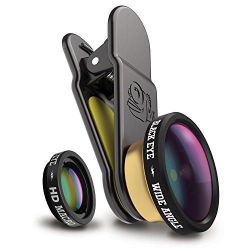 Black Eye HD Combo Kombo-Paket mit HD Wide Angle und HD Macro für Smartphones (160° Weitwinkel- und 15-fach Makro-Objektiv, 2-fach beschichtetes Glas, Clip-Befestigung, Funktioniert auch mit DualCams)