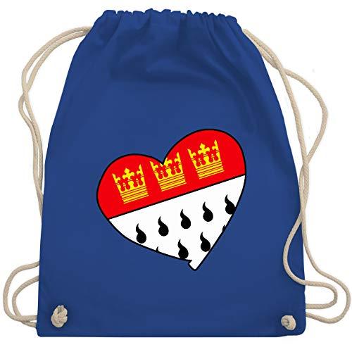 Shirtracer Karneval & Fasching - Köln Wappen Herz - Unisize - Royalblau - köln karneval - WM110 - Turnbeutel und Stoffbeutel aus Baumwolle